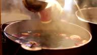 Mulled wine in saucepan. video