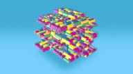 Multi Colored Floating Blocks Form Of Large Cube Shape video