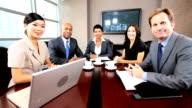 Multi Ethnic Business Team Using Online Video Uplink video