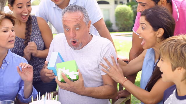 Multi Generation Family Celebrating Birthday In Garden video