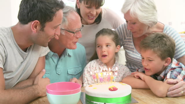 Multi Generation Family Celebrating Daughter's Birthday video
