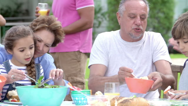 Multi Generation Family Enjoying Meal In Garden Together video