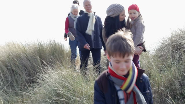 Multi Generation Family In Sand Dunes On Winter Beach video