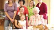 Multi generation family portrait video