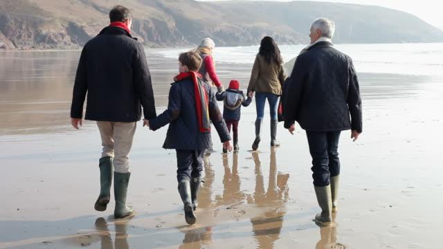 Multi Generation Family Walking On Winter Beach video