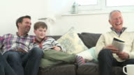Multi Generation Family Watching TV Together video