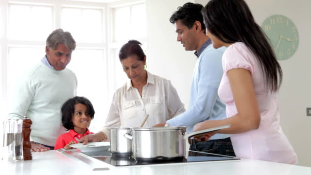 Multi Generation Indian Family Cooking Meal At Home video