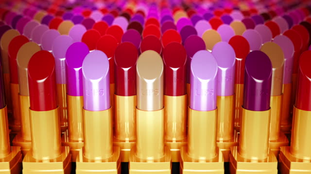 Multicolor lipsticks in a row. Loopable CG. video