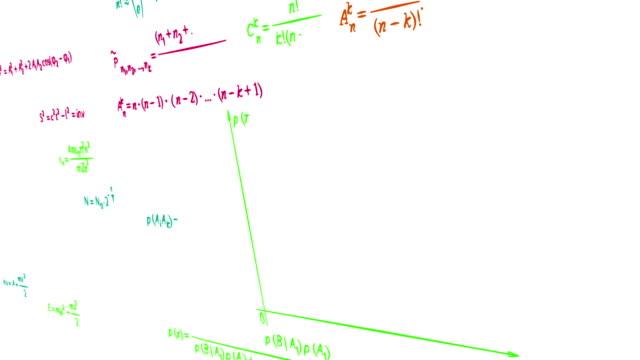multicolor math physics formulas on white panning loop video