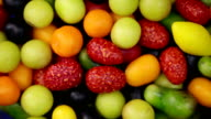 Multicolored Dragee. Food background video