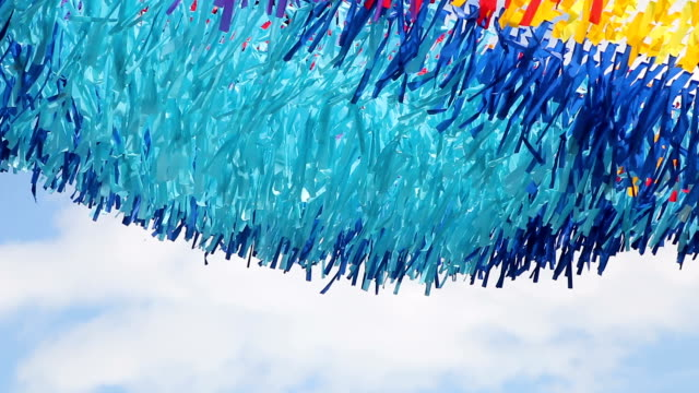 multicolored fabric strips developed in wind video