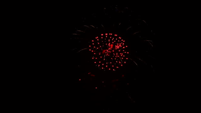 A multi-colored fireworks explodes on a festive night. video