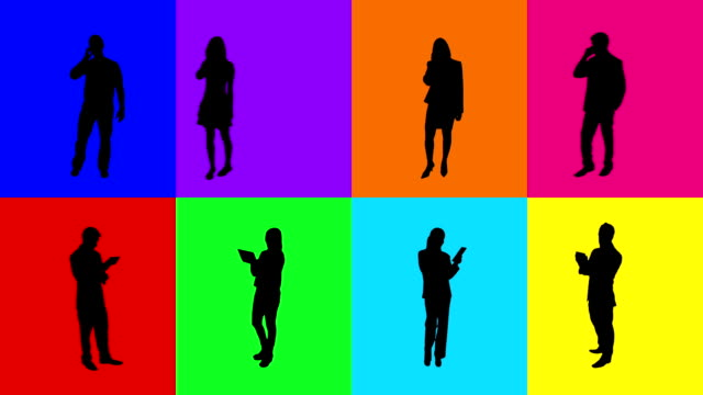 Multicolored silhouettes. Technology. 8 in 1. video