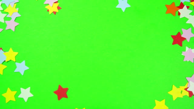 Multicolored Stars Shaped on a Green Screen video