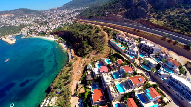 Multicopter view of Kalkan Mediterranean town video
