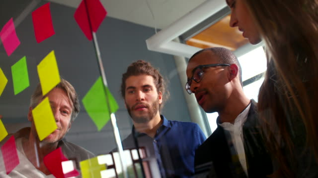 Multi-ethnic business team brainstorming in startup office video
