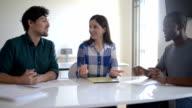 Multi-ethnic business team meeting video