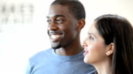 Multi-Ethnic Couple Looking Off Camera video