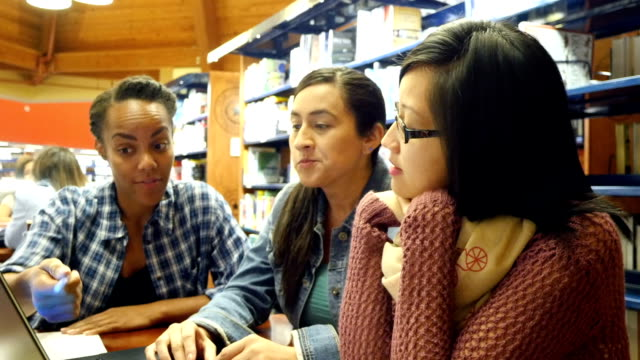 Multi-ethnic friends brainstorm and study in college library video