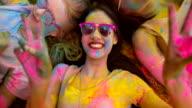 Multi-Ethnic Group Celebrating Holi Festival in Park video
