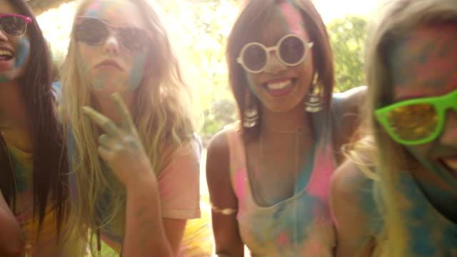 Multi-Ethnic Group of Girls Celebrating Holi Festival video
