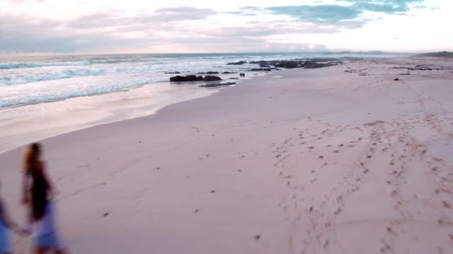 Multi-Ethnic Hipster Friends Walking on Sandy Beach video