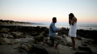 Multi-Ethnic Romantic Couple Proposing at the Beach video