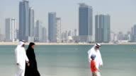 PANNING: Multi-generation Emirati family on the beach video
