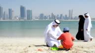Multi-generation Emirati family on the beach video