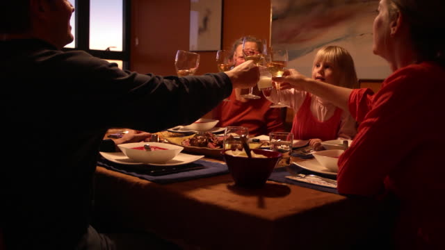 Multi-Generation Family Toasts with Dinner video