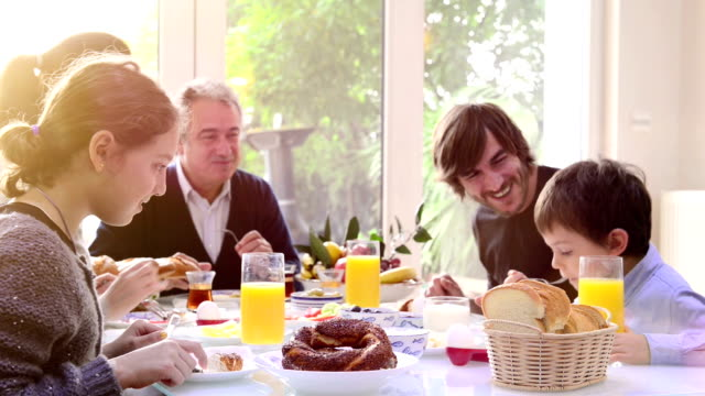 Multi-generation Turkish family having breakfast video