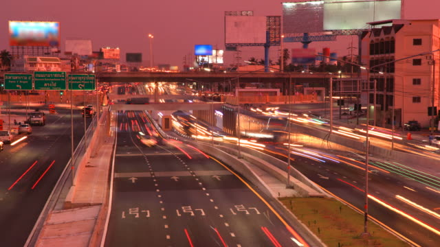 Multilevel city traffic Rush Hour Time lapse at Dusk video