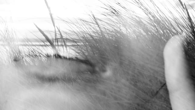Multiple exposure of a female face with seaside dunes overlayed video