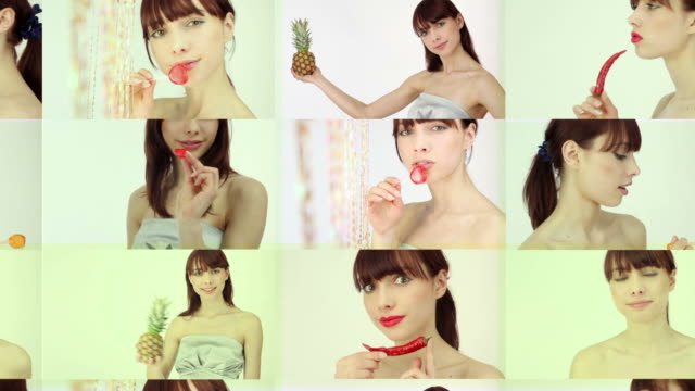 Multiple image of woman video
