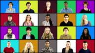 Multiple People portrait montage Squares on Coloured Grid video