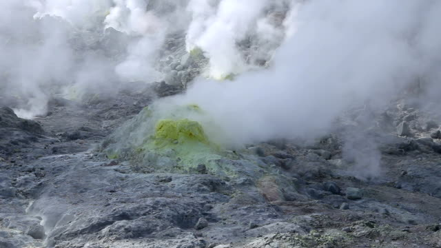 Multiple vents of sulphur steam rising from the ground - Wide shot video