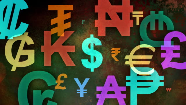 Multiple versions (3) Colorful Worldwide Currency symbols video