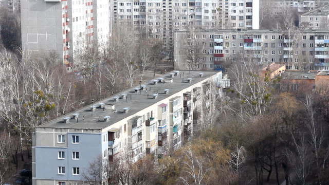 Multiples of high-rise buildings in an urban area. View from a height. video