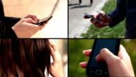 multiscreen footage of people using mobile phones video