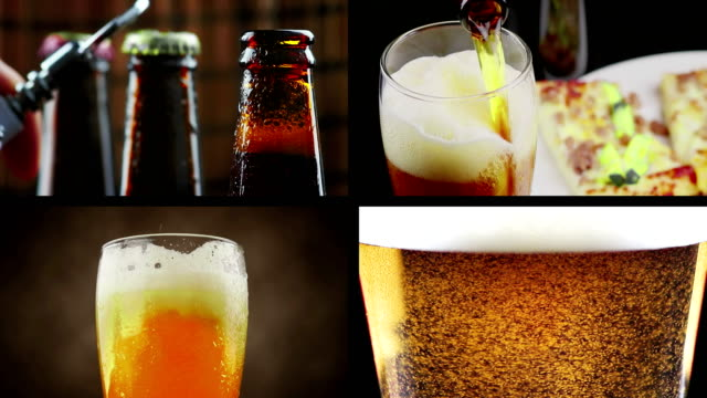 multiscreen scene with pouring, drink and close-up fresh beer, lifestyle and relax concept video