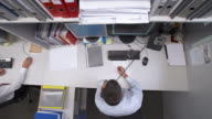 HD CRANE: Multitasking Businessman video