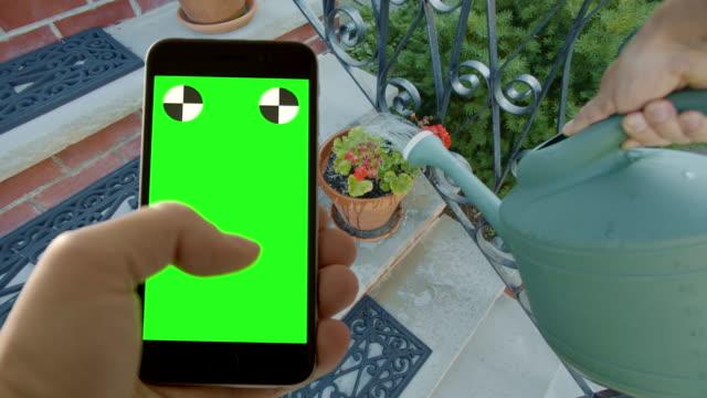 Multi-tasking watercan garden surfing texting human hand green screen chromakey video