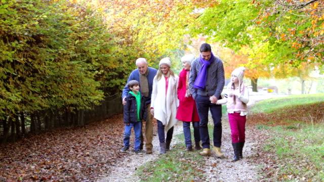 Multl Generation Family Walking Along Autumn Path video