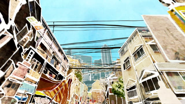 Mumbai street. Animation. video