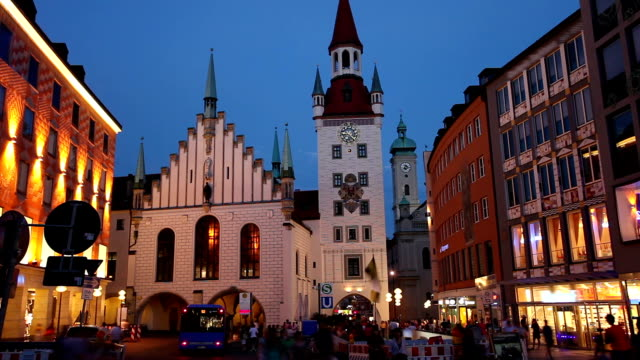 Munich by night with Old Town Hall video