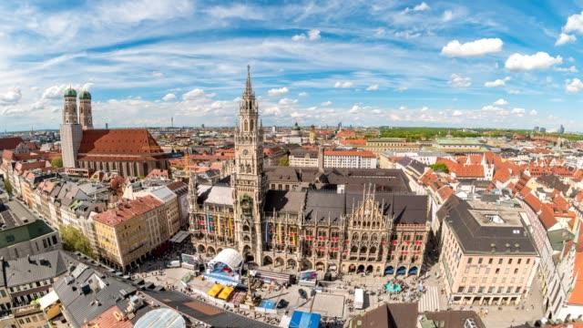 Munich city skyline timelapse at Marienplatz New Town Hall Square, Munich, Germany, 4K Time lapse video