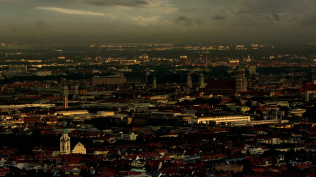 Munich old city rooftops skyline shadows video