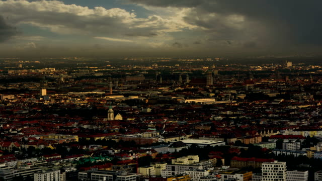 Munich skyline shadows moving across the city video
