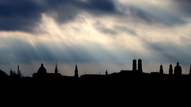 Munich skyline silhouette with stormy sky video