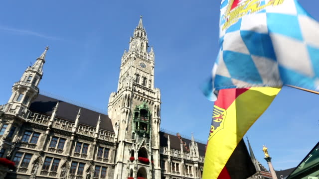 Munich town hall with Bavarian flag video
